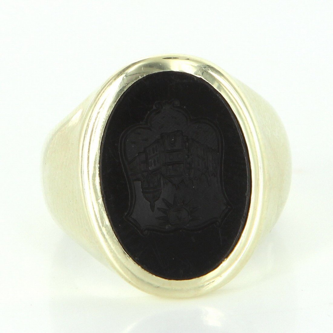 Mens Vintage Family Crest Oval Ring 14k Yellow Gold - 2