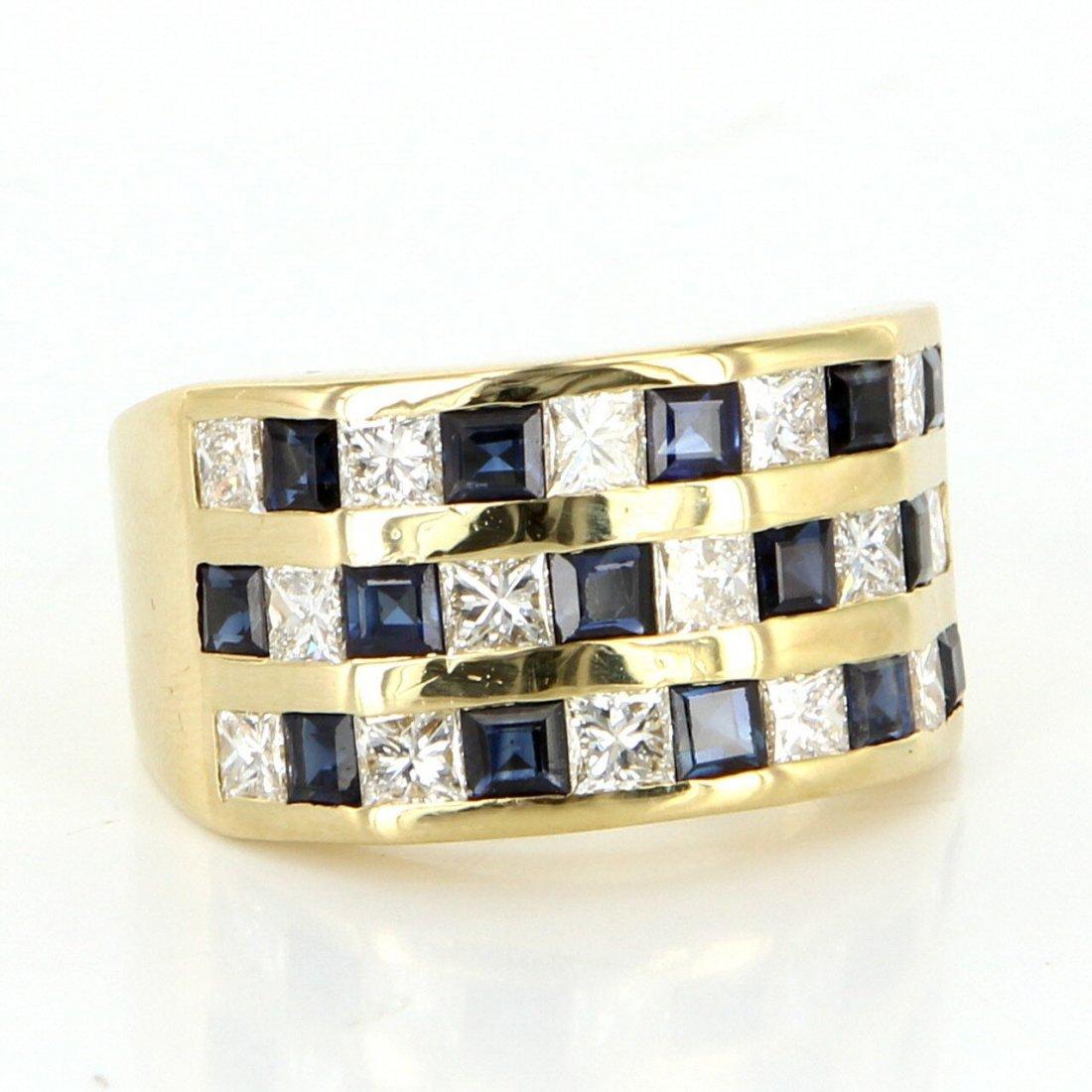 Vintage 14 Karat Yellow Gold Diamond Sapphire Mens