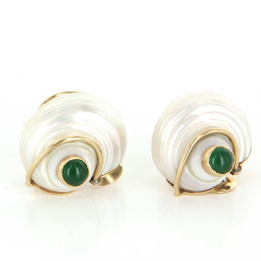 Seaman Schepps Turbo Collection Sea Shell Earrings 14k