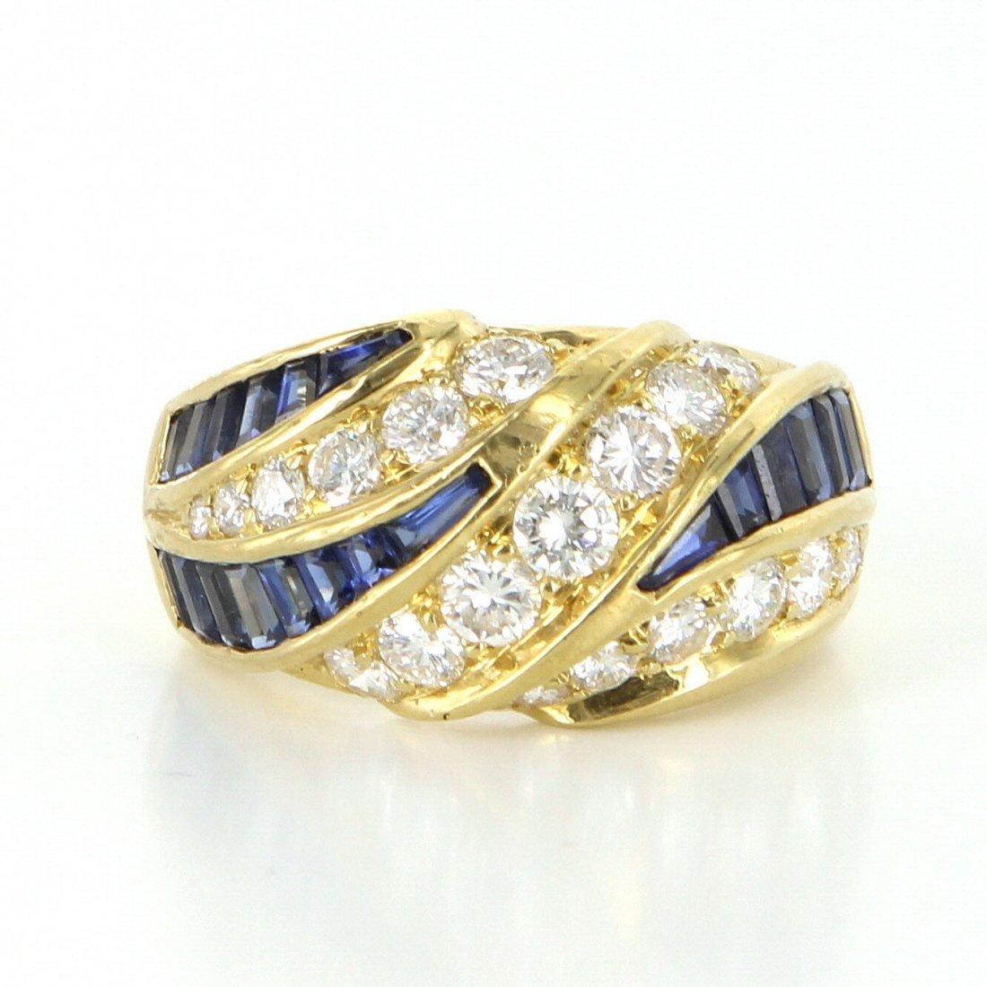 Kurt Wayne Diamond Sapphire Band Ring Vintage 18k Gold