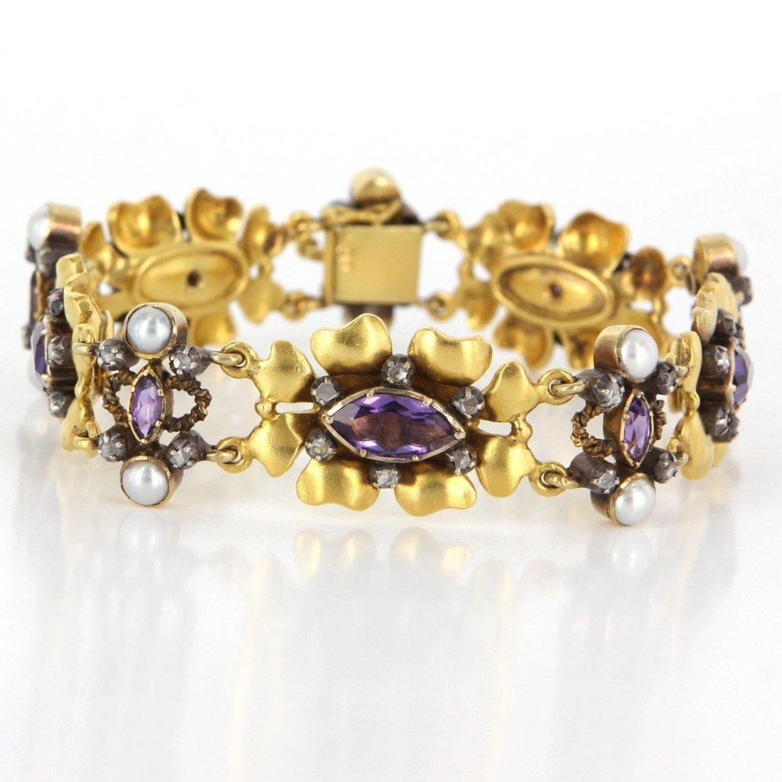 Antique Art Deco 18 Karat Yellow Gold Amethyst Diamond