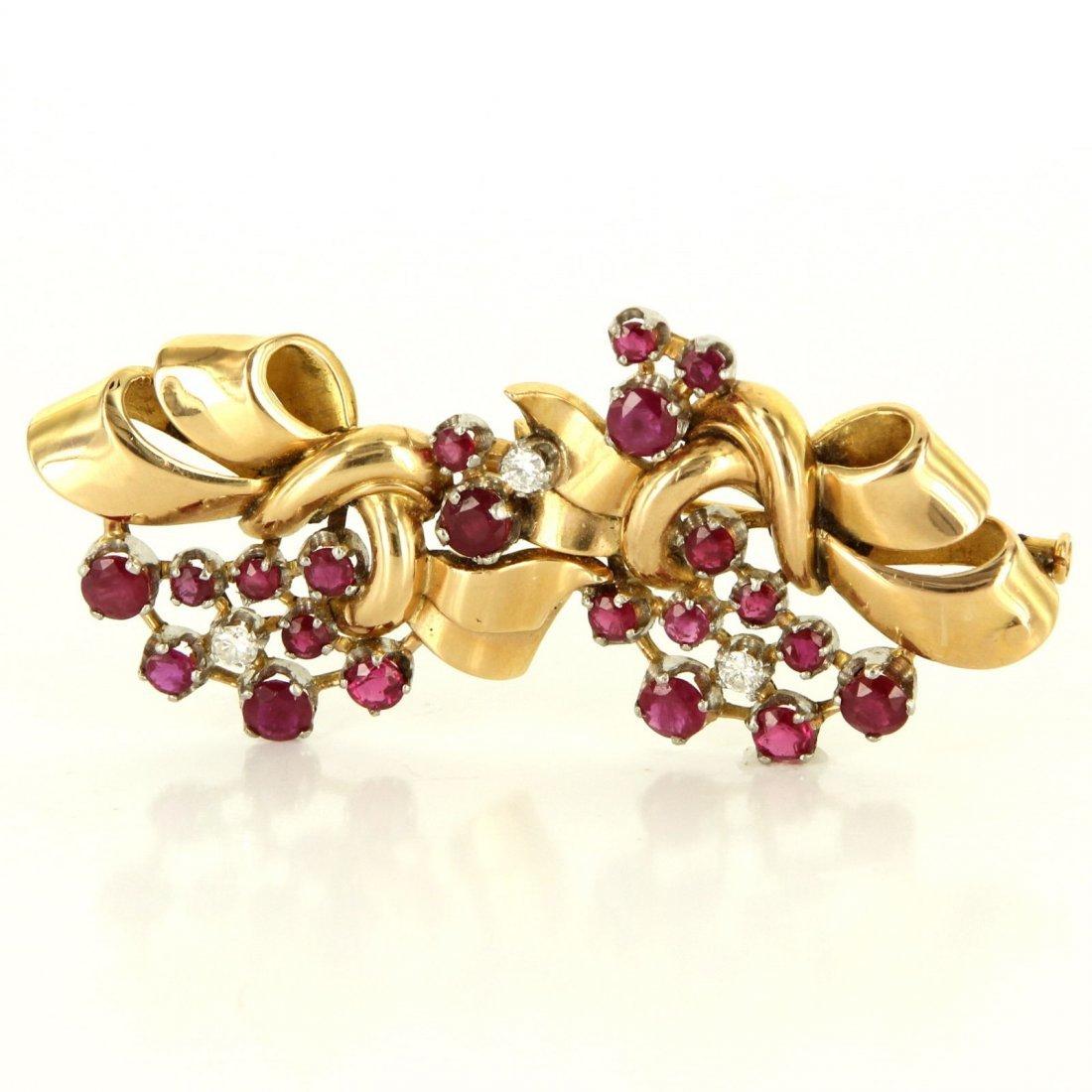 French Deco Retro 18 Karat Yellow Gold Diamond Ruby
