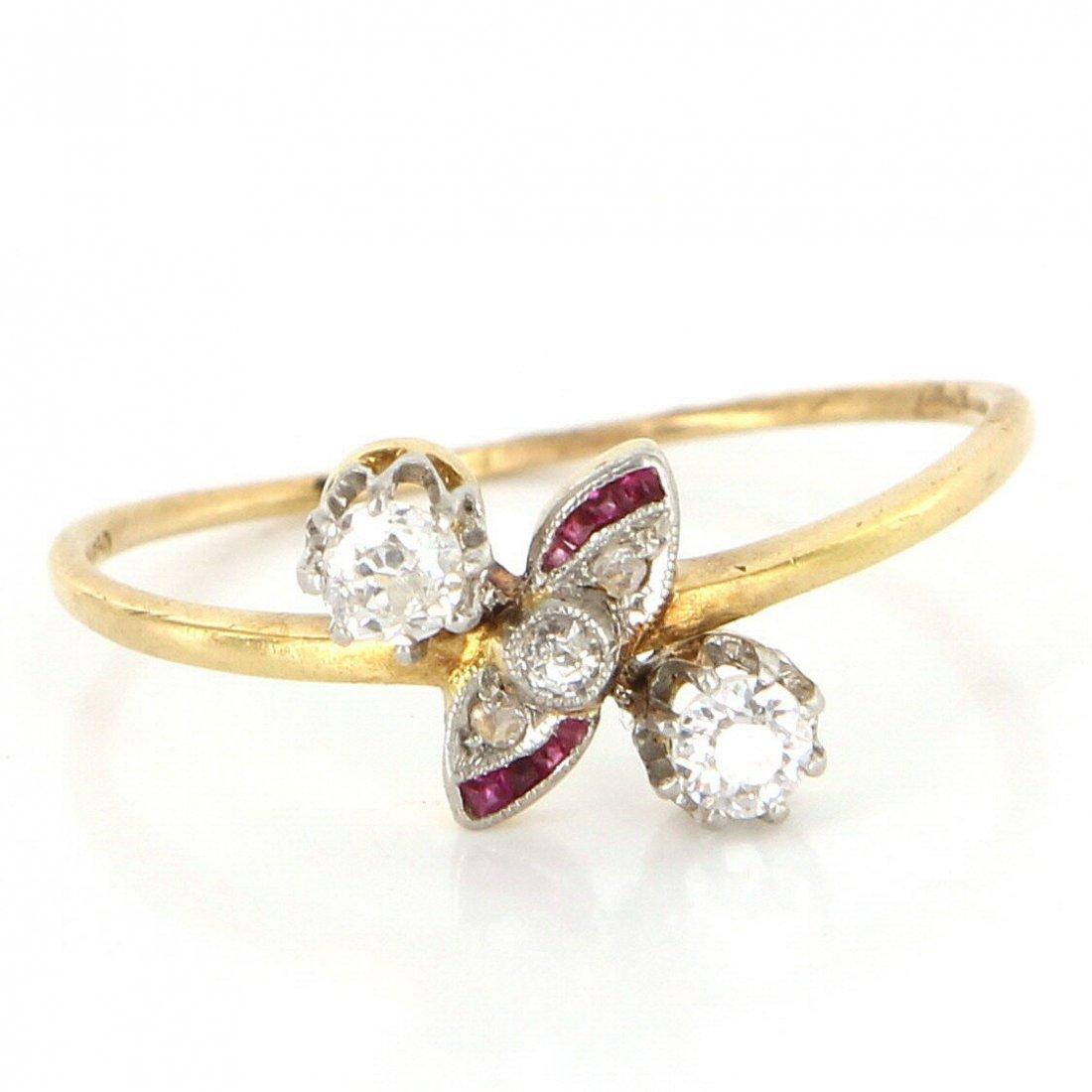 Antique Art Deco 18 Karat Yellow Gold Diamond Ruby Ring
