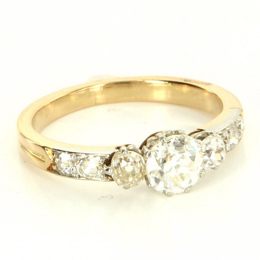 Antique Art Deco 18 Karat Yellow Gold Platinum Diamond
