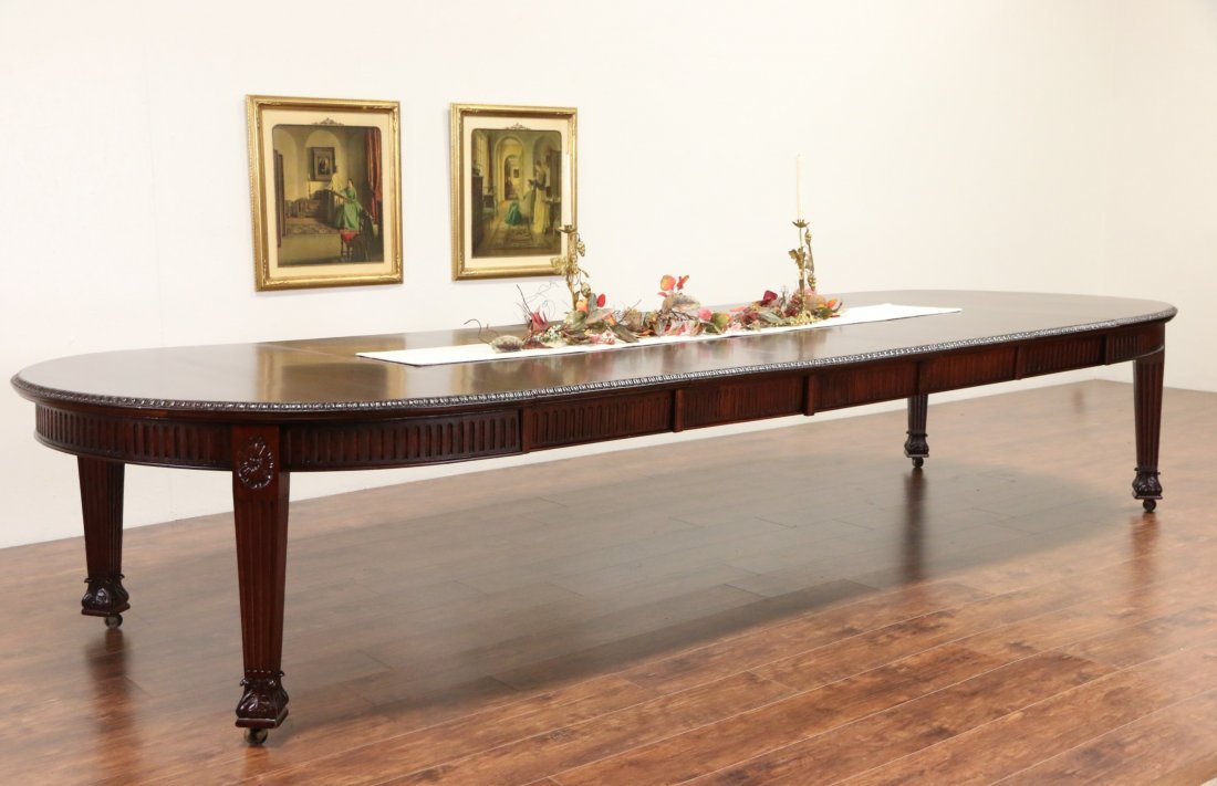 English Regency 1880 5' Wide Oval Crank Dining Table,
