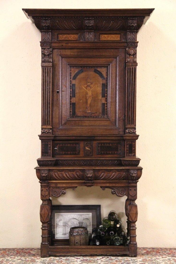 Dutch 1700's Antique Oak & Marquetry Crucifix Vestry