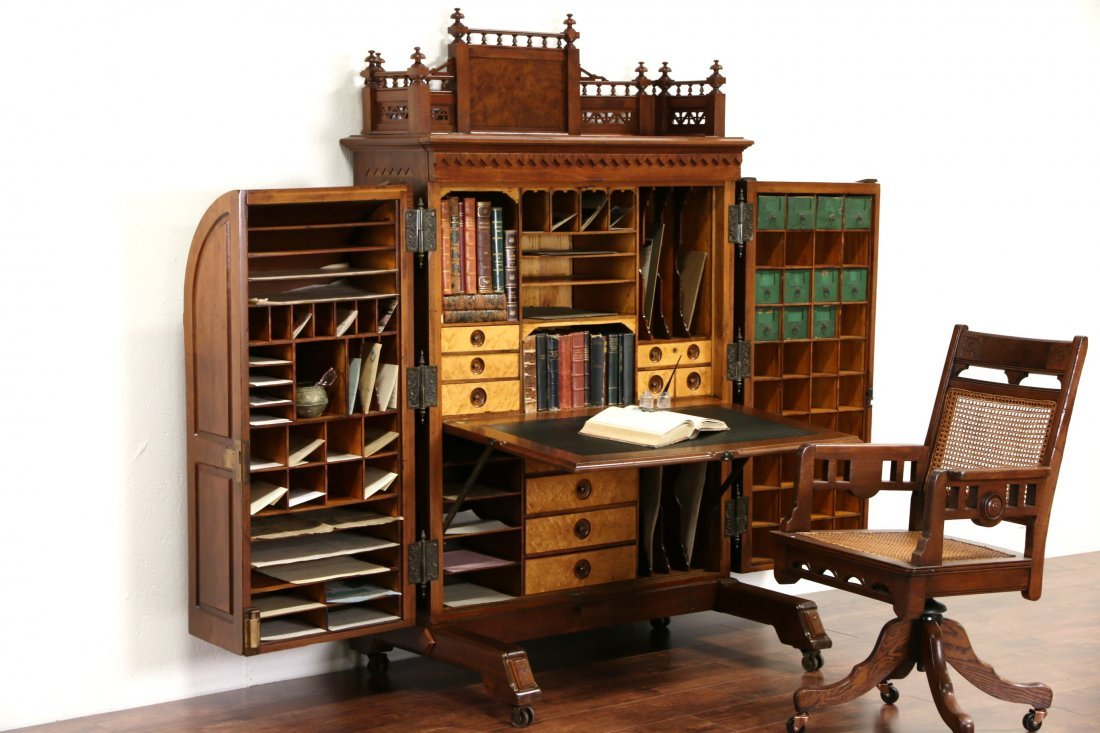 Wooton Signed Victorian 1874 Patent Antique Walnut Desk