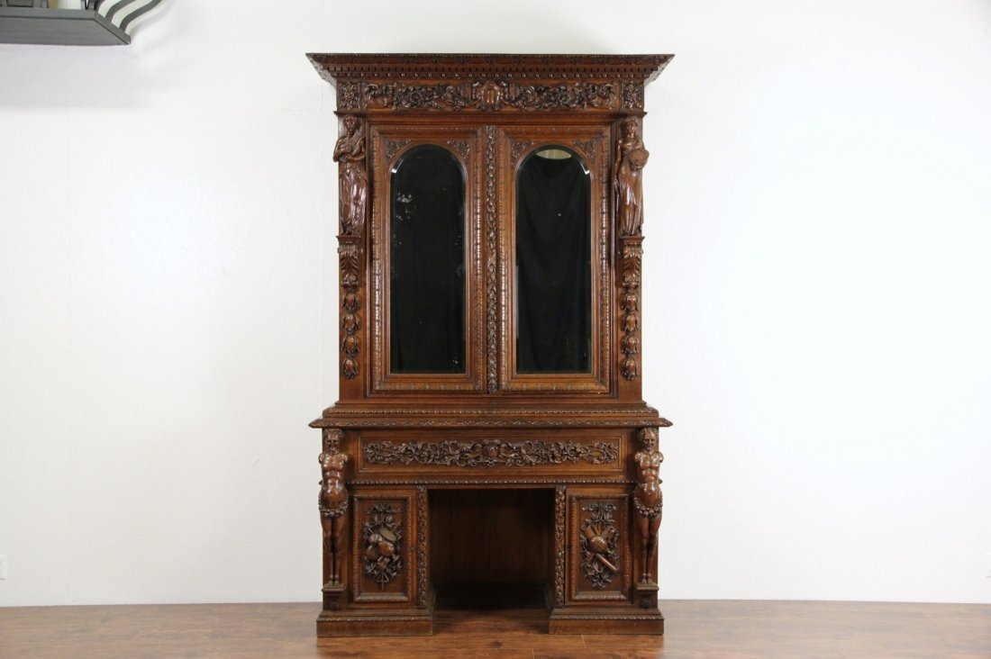 Oak 1870's Antique Library Desk & Bookcase, Carved