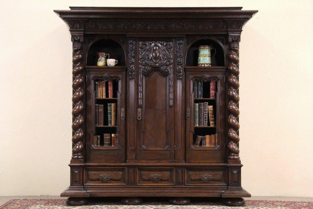 German Renaissance Carved Oak 1910 Antique Bookcase,