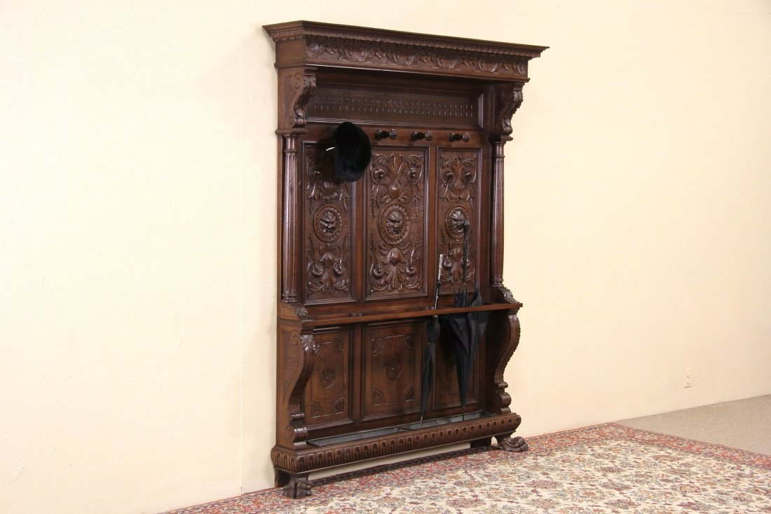 Hall or Dressing Stand, 1890 Italian Antique Carved