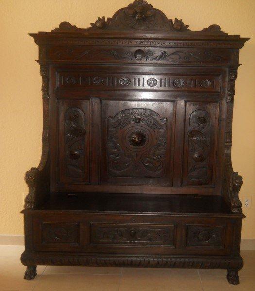 Renaissance Revival carved oak Hall Bench