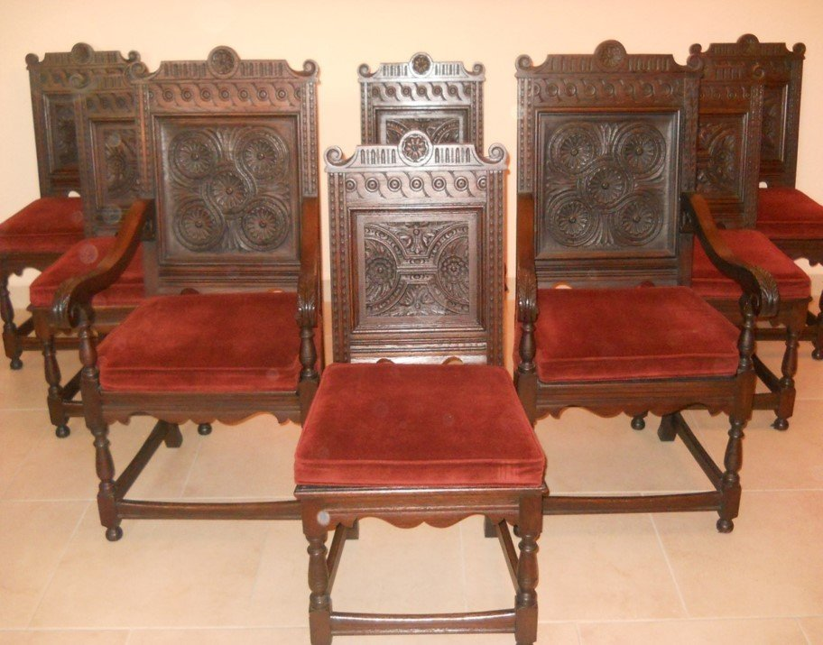 Jacobean 8 piece carved oak dining chairs