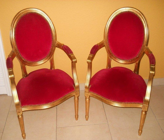2 Louis XVI gold leaf chairs sold only as a set