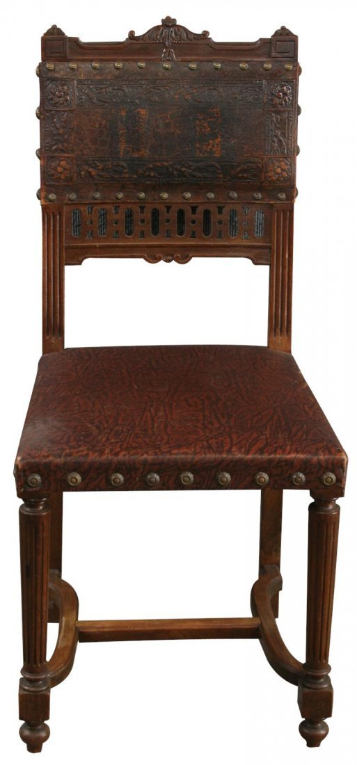 4 Antique Dining Chairs French Renaissance 1900, Carved - 3