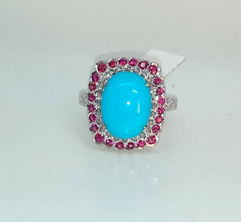 """""""18k white gold Diamond/Ruby/Turquoise Ring, This is an"""