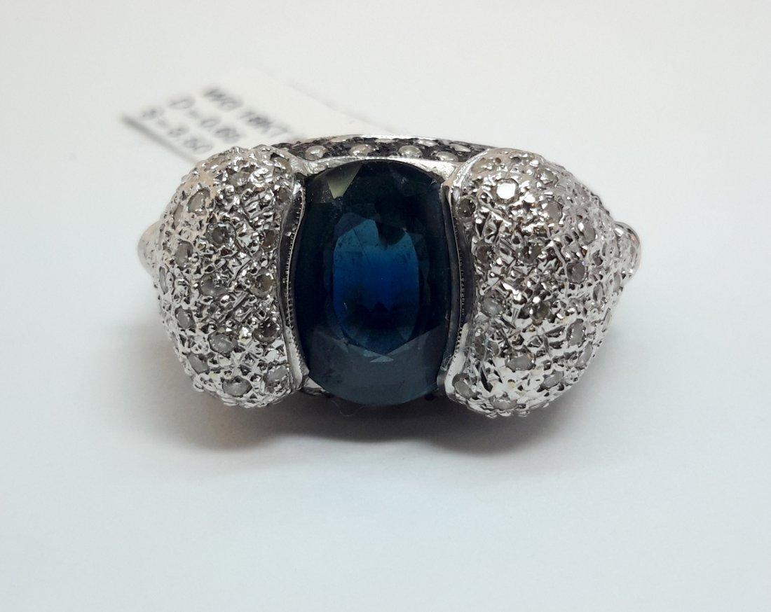 """18K W/G DIAMOND /SAPPHIRE RING, This stunning ring has"