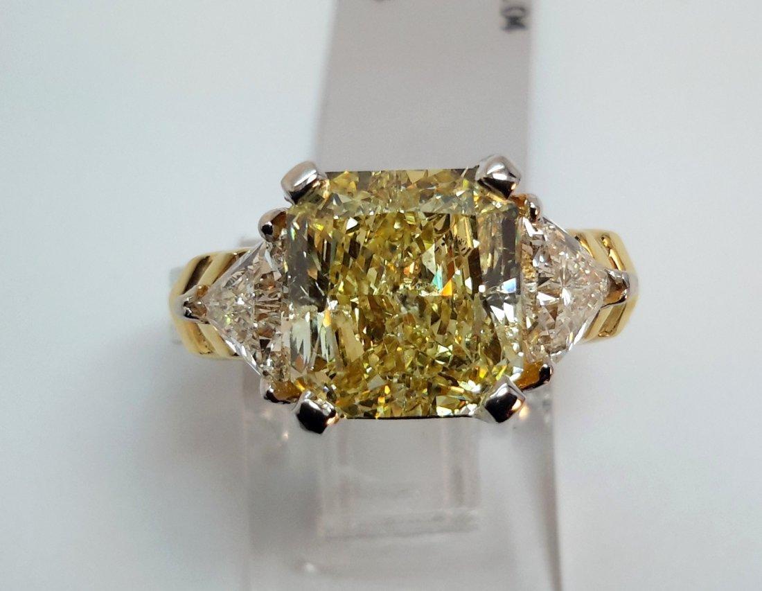 PLANINUMand 18KGOLD FANCY YELLOW DIAMOND RING ,