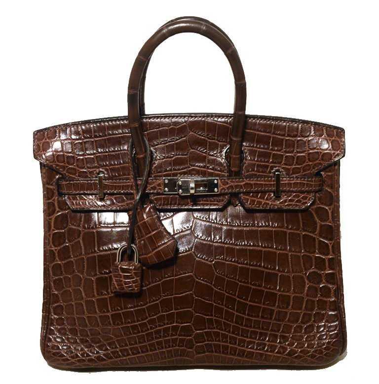 Rare Hermes Brown Niloticus Crocodile 25Cm Birkin Bag b22d6f5445