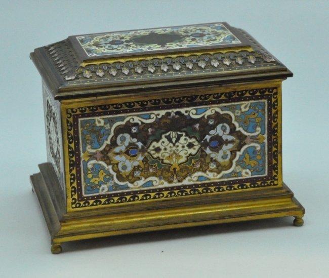 French Champleve Cloisonne Enamel Bronze Box