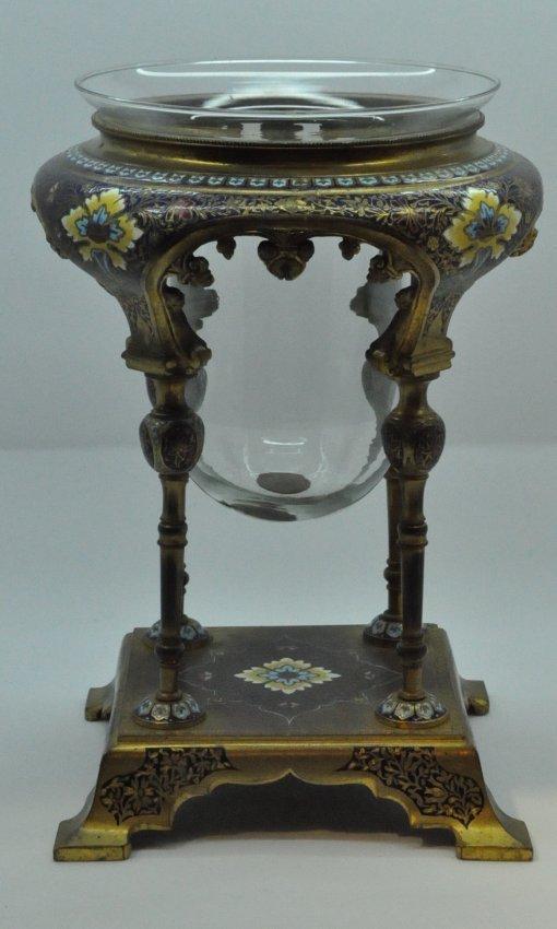 French Champleve Cloisonne Enamel Bronze Oil Lamp