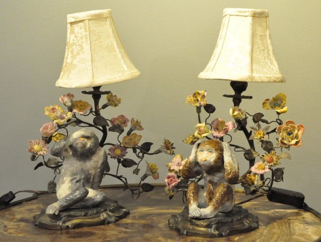 Pair of Bronze Mounted Porcelain Monkey Lamps