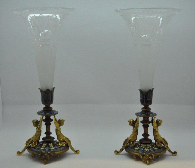 Pr. French Champleve Cloisonne Enamel Bronze Glass Vase
