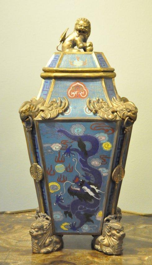 Large Chinese Cloisonne Enamel Dragon Vase