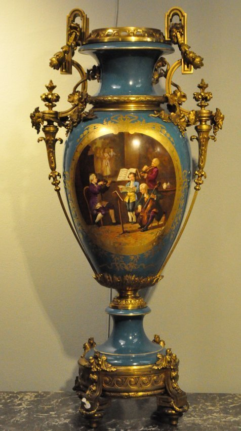 Monumental Bronze Mounted Sevres Style Porcelain Vase