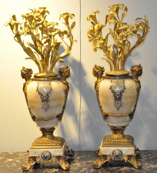 Pair of FrenchBronze Onyx & Champleve Enamel Candelabra