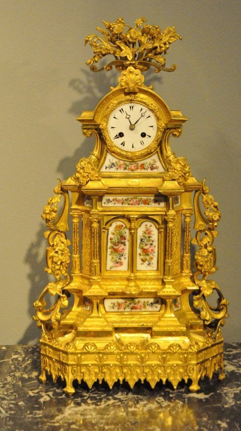 French Bronze & Porcelain Clock for Turkish Market
