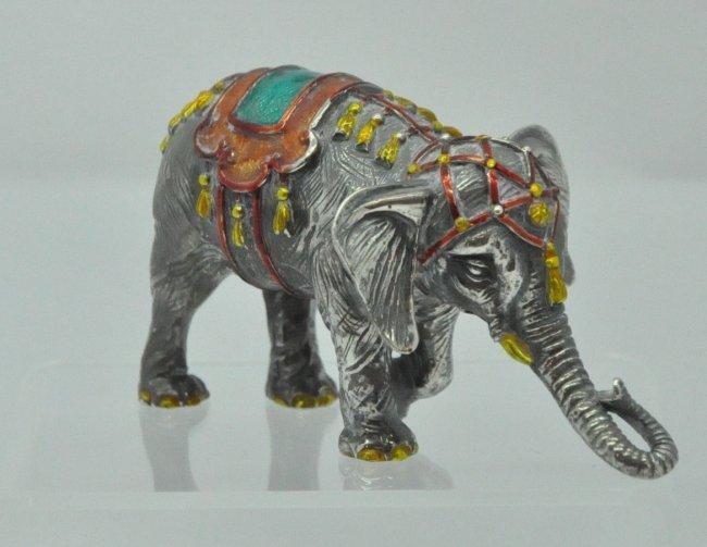 Tiffany & Co Silver Enamel Circus Elephant Figure