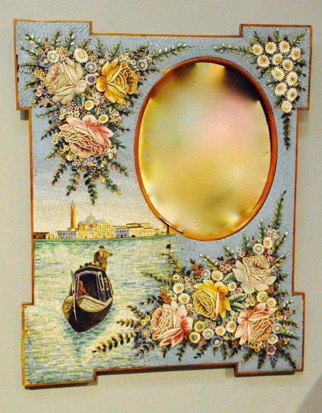 Large Antique Italian Micro Mosaic Mirror Frame