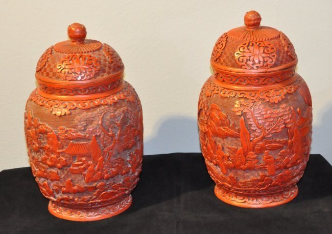 Pair of Antique Chinese Cinnabar Lacquer Vases