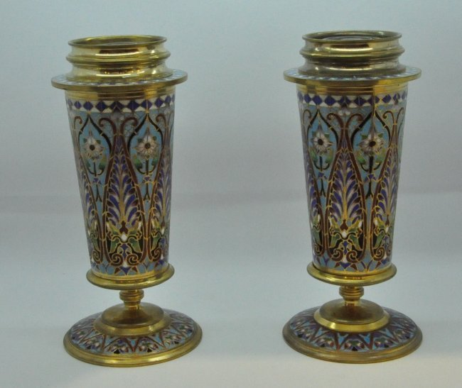 Pr of Exquisite Champleve Cloisonne Enamel Bronze Vases