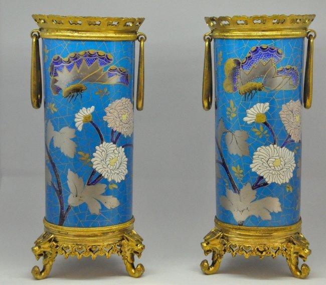 Pr. French Bronze Mounted Porcelain Vases Signed