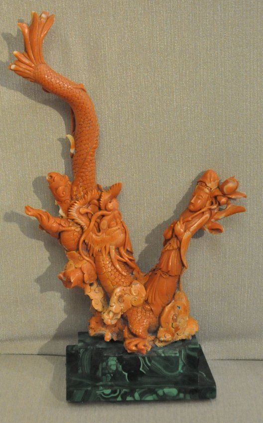 Important Chinese Carved Coral Carving w. Malachite