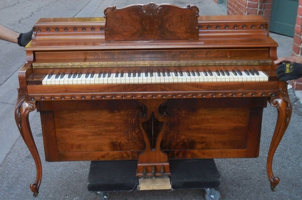 Antique Shoninger Upright Piano W Exotic Burl Wood