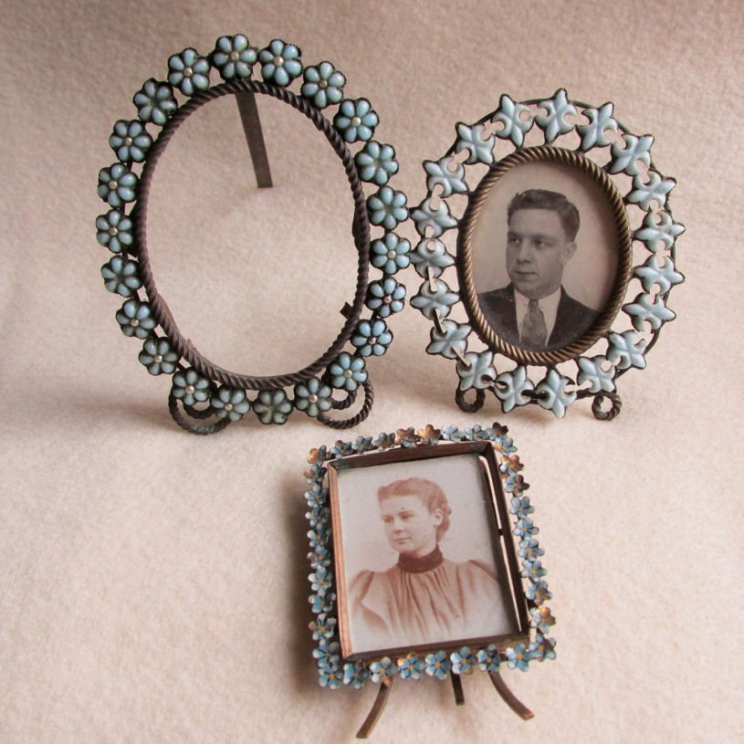 3 Antique Miniature Picture Frames with Glass Fleur de