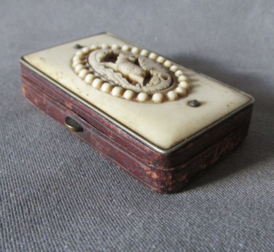 Antique 19thC European Antler Match Safe Vesta with
