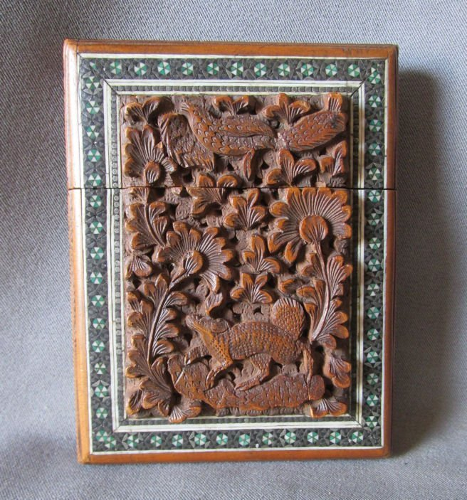 19thC Victorian Hand Carved Anglo Indian Calling Card
