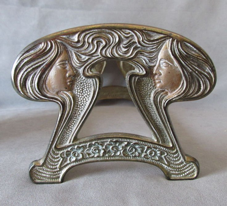 Art Nouveau Expanding Bookends, Ladies with Long