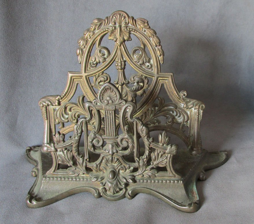 c1910 Antique Edwardian Desk Top Letter Holder with
