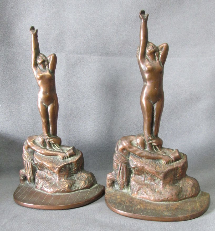 Pair c1926 Art Deco Nude Man & Woman Bookends, Bronze