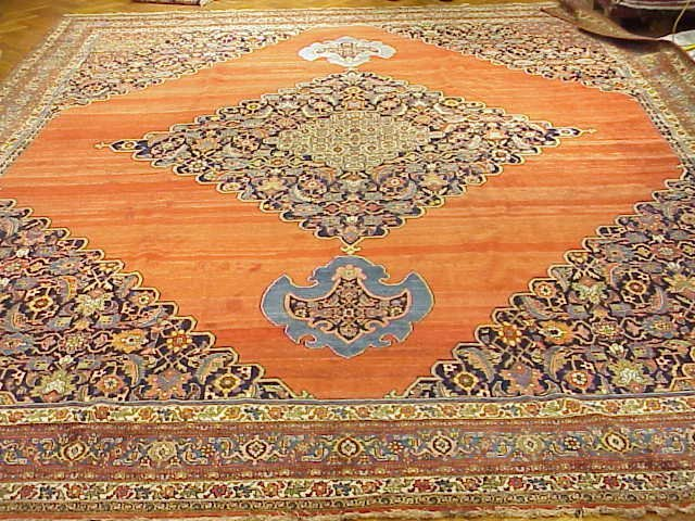 Handmade 15 x 19 Rug Antique Persian Bijar Circa 1900