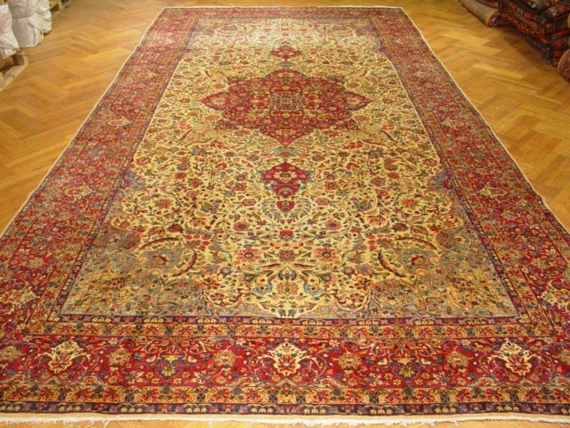 Handmade 10 x 19 Rug Antique Persian Lava Kerman