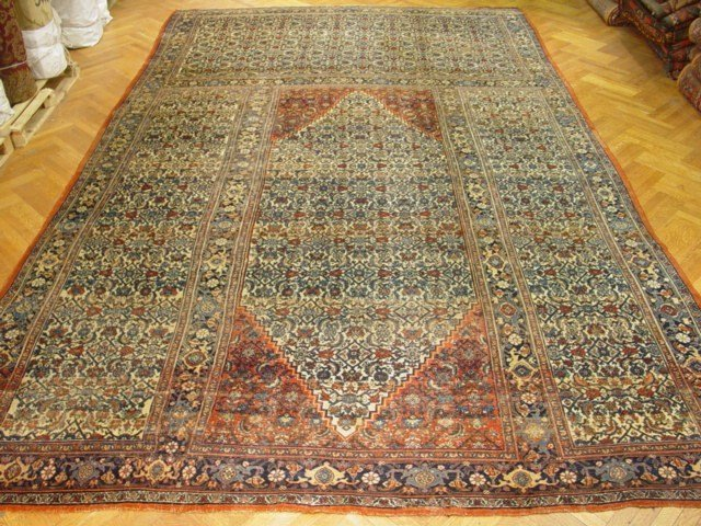 Handmade 12 x 19 Rug Antique Persian Bijar Circa 1900