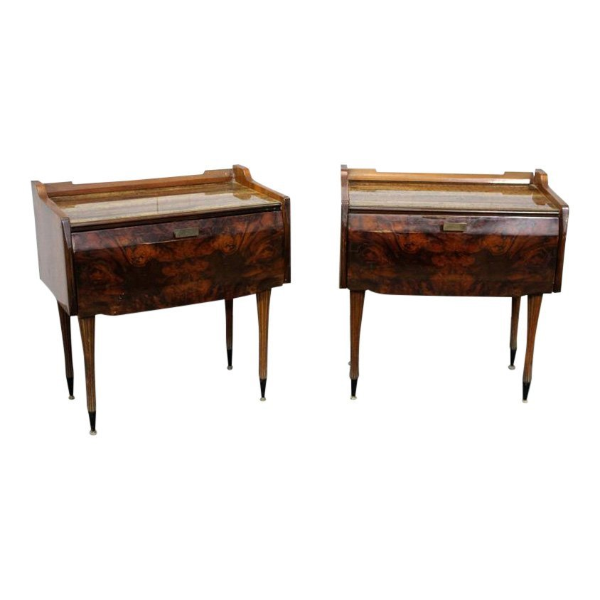 Pair of 60s Italian Nightstands with marbleized glass