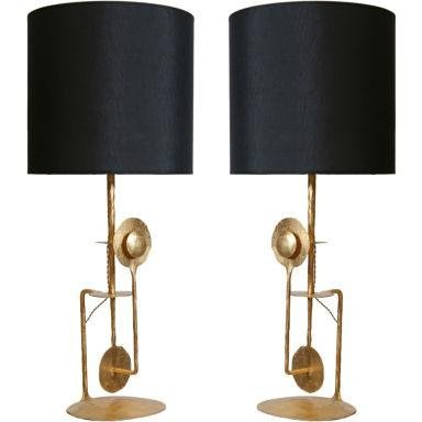 Pair of Large Gilt Wrought Iron Modernist Italian Lamps