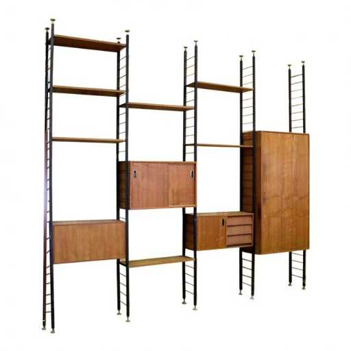 50s Italian Bookshelf Wall Unit