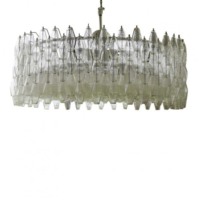 Large 488 Crystal Poliedri Murano Chandelier